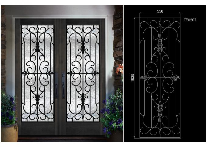 Home Decration Tempered Wrought Iron Door Glass Silk Screening 22*64 Inch