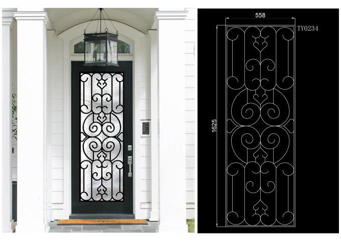 Prevent Freezing Tempered Wrought Iron Door Glass Silk Screening Great Security Feature