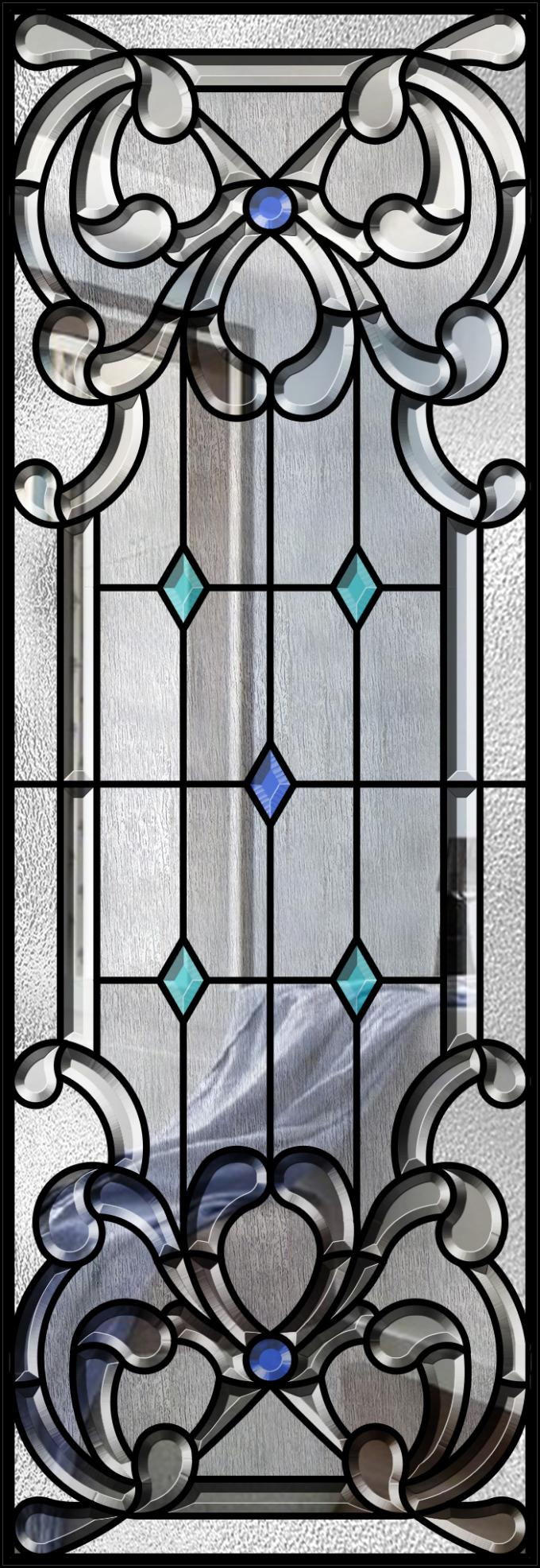 "Wall Strength Elegance Comfort Decorative Glass Panels 22"" * 64"" Steel Frame Material"