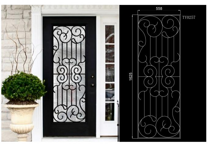 Professional Wrought Iron And Glass Entry Doors For Building Sound Insulation