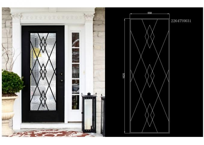 Decorative Wrought Iron Glass For Door Agon Filled 22*64 Inch Size Shaped