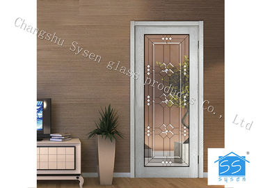 "China Entry Door Decorative Panel Glass 22"" * 64"" / Custom Size Steel Frame Material supplier"