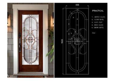China Classical Thermal / Sound Insulation Door Art Glass Sheets With Black Chrome supplier