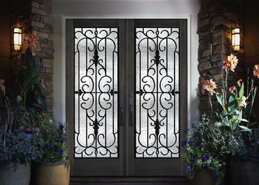 China Home Decration Tempered Wrought Iron Door Glass Silk Screening 22*64 Inch supplier
