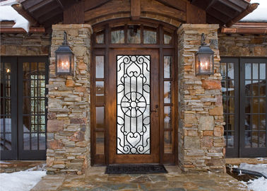 China Scroll Work Filled Wrought Iron Glass Door , Single Iron Doors Maintenance Free supplier