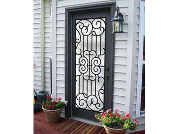 China Professional Wrought Iron And Glass Entry Doors For Building Sound Insulation supplier
