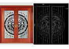 Decorative Wrought Iron Glass For Door  Agon Filled 22*64inch Size Shaped
