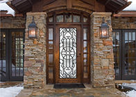 Scroll Work Filled Wrought Iron Glass Door , Single Iron Doors Maintenance Free