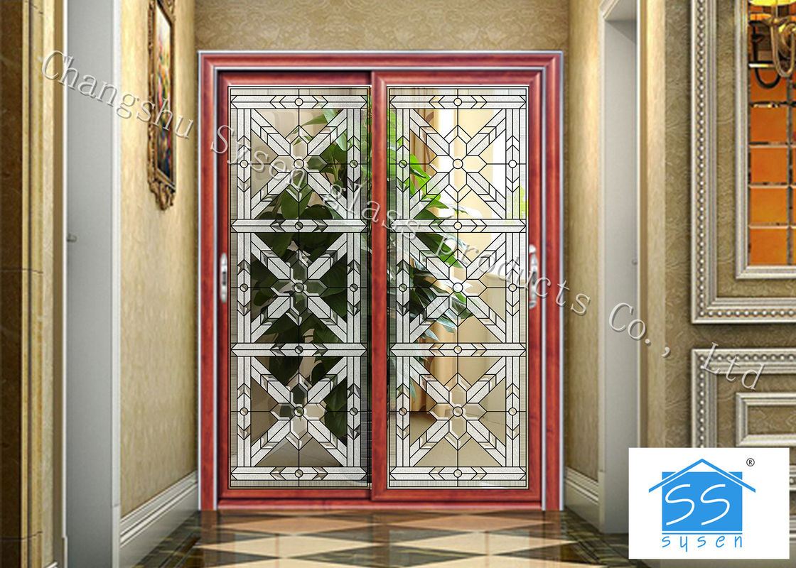 Building Clear Beveled Glass Window Panels Door Acid Etched Sound
