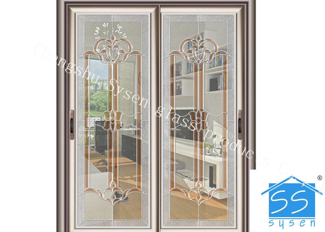 Bevel Clear Sliding French Patio Doors Safety French Glass Sliding