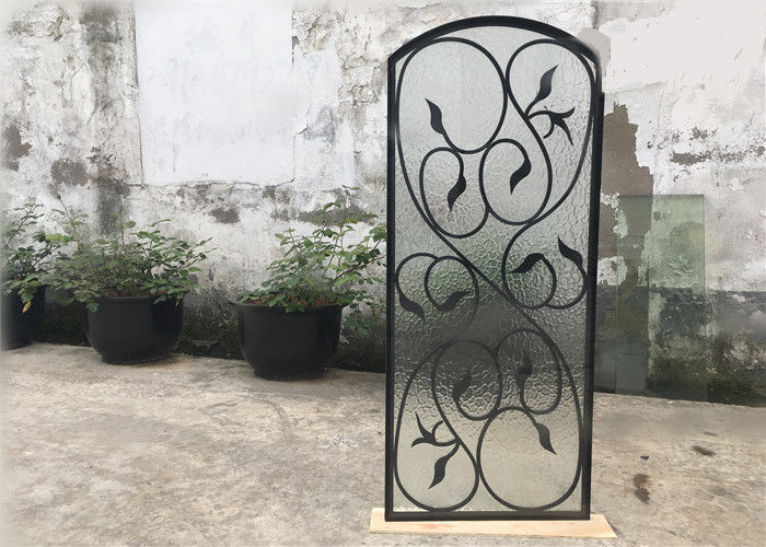 Rust Prevention Wrought Iron Glass Door Inserts , Hollow Iron Glass Doors