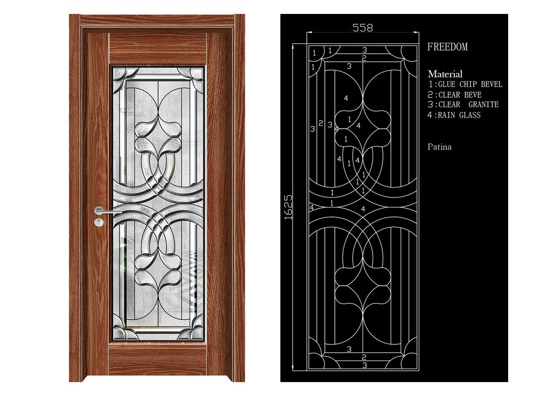 Inteiror Door Architectural Decorative Glass Clean Bevelled Glass