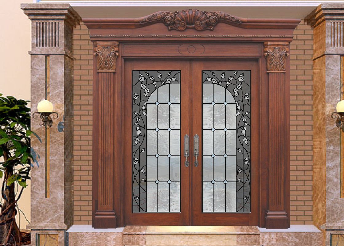 Wood Frame Dedorative Sliding Glass Door Black Patina Internal
