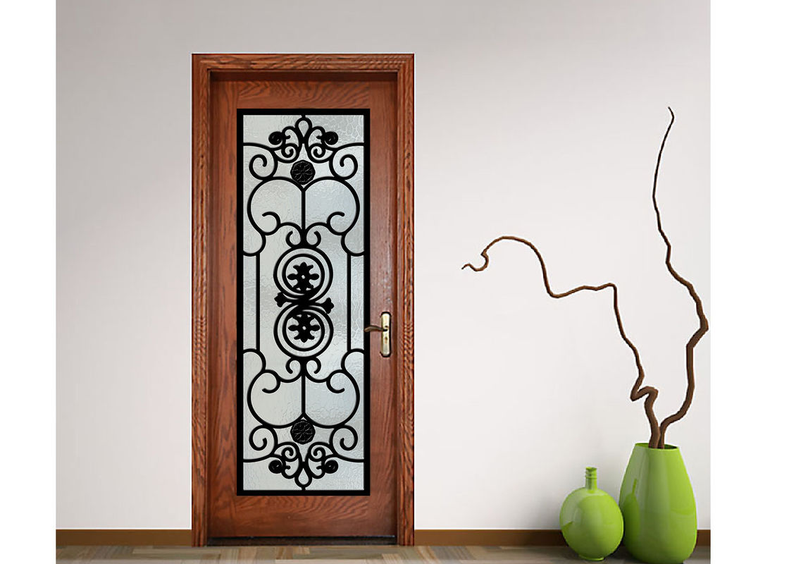Advanced Custom Wrought Iron Entry Doors Iron Mosaic Glass Thickness 20 30  Mm