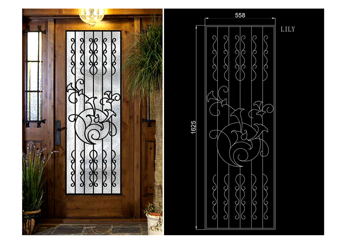 Decorative Inward Outward Openning Wrought Iron Glass For Entry Doors