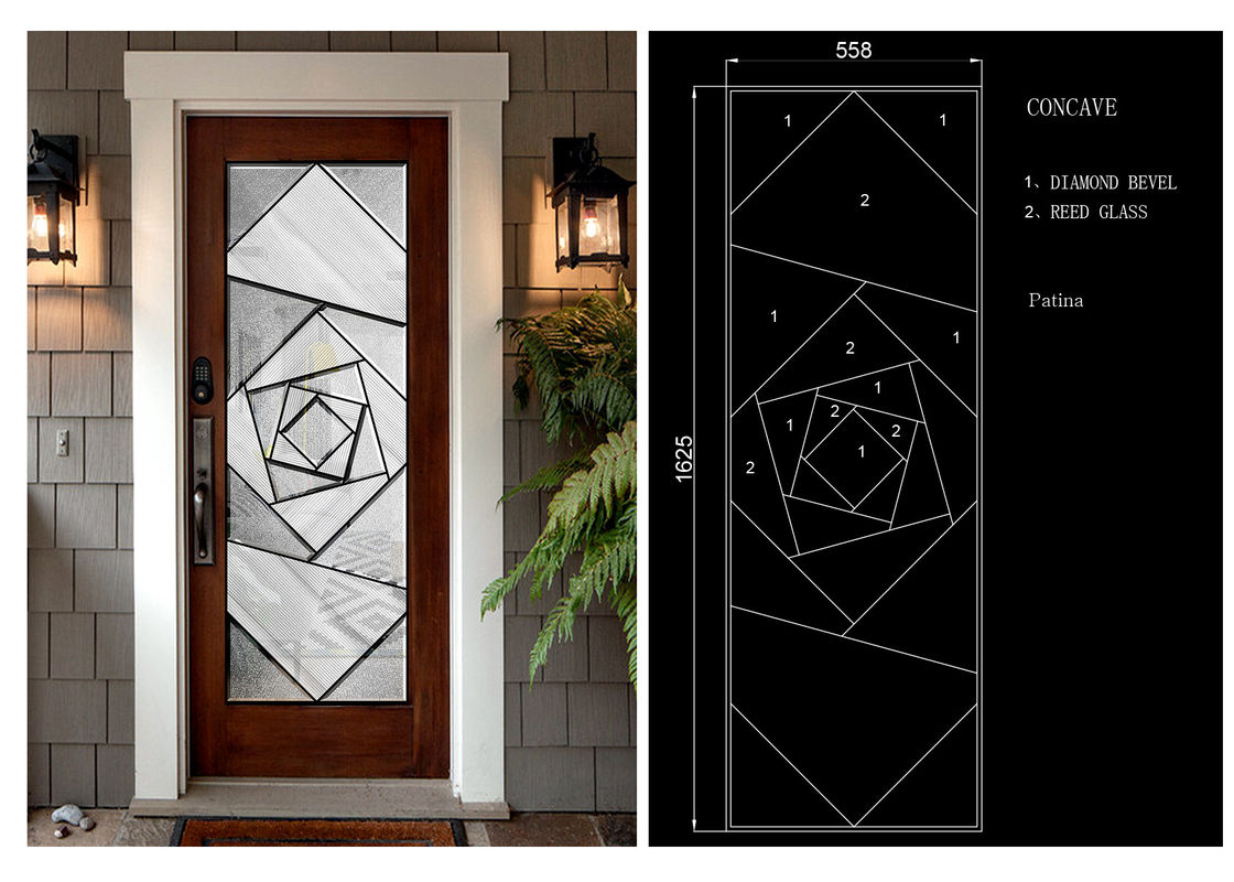 Clear Coated Stained Pattern Decorative Panel Glass 2248