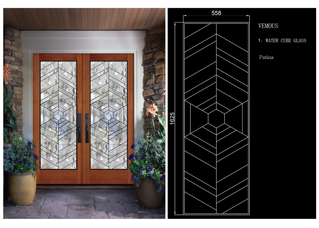 Sliding Glass Door Hollow Stained Glass Panels Air Argon Insulating