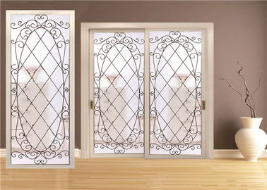 China Double Pane Sliding Glass Door Hollow Stained Glass Panels Air / Argon Insulating factory