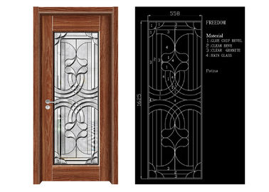 China Inteiror Door Architectural Decorative Glass , Clean Bevelled Glass Door Panels factory