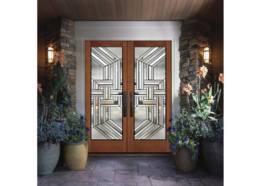 China Custom Wooden Door Glass , Theft Proof Bevel Translucent Glass Panels factory