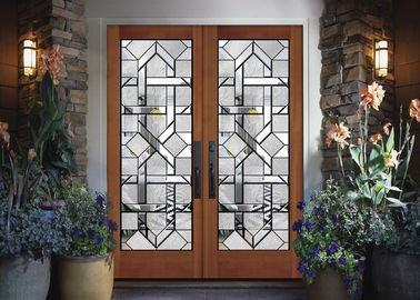 China Interior Wood Doors Classical Art Glass Panels Thermal Sound Insulation factory